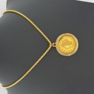 1776 Gold Tone Lady Liberty Commemorative Coin Necklace